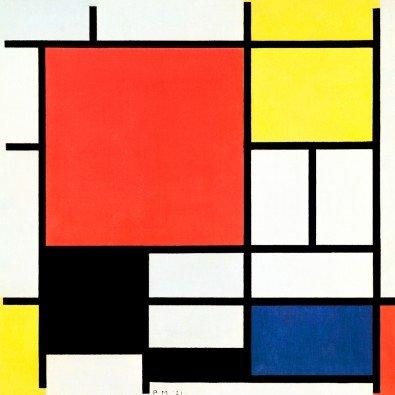 Compositie met rood, geel en blauw | 70 x 70 cm | Photo satin paper
