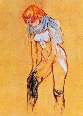 Femme, qui tire son bas | 85 X 110 cm | Photo satin paper