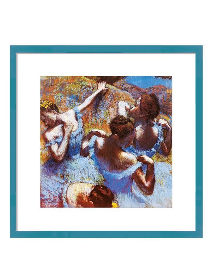 Danseressen in blauw | 80 x 80 cm | Natuurpapier (structuur)