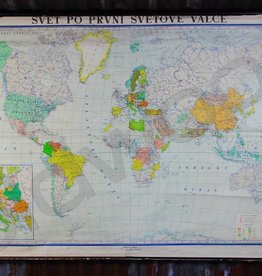 Vintage linen school card of the world