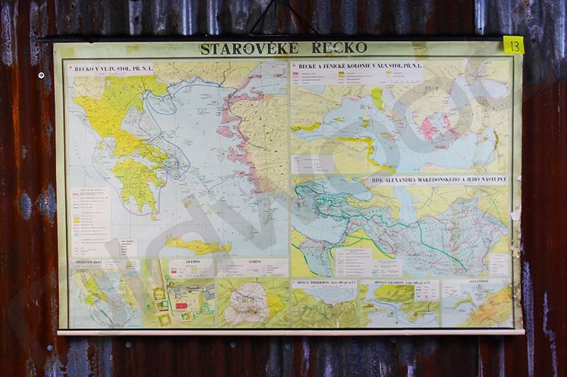 Vintage linen map of Greece
