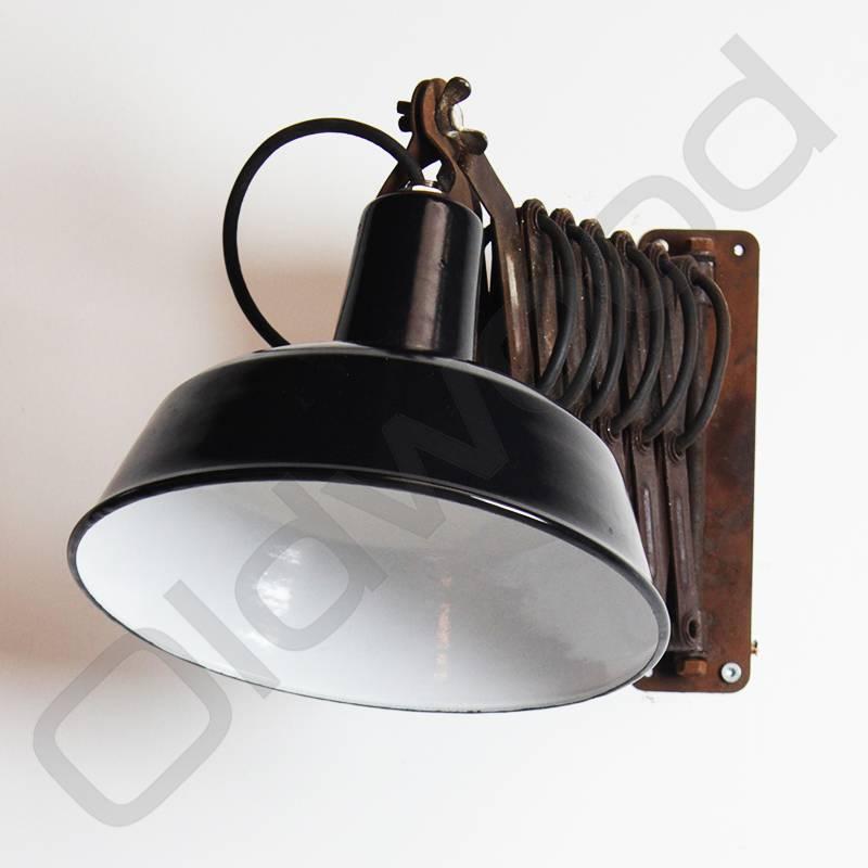 Bekend Vintage industriele emaille wandlamp / schaarlamp / scharnierlamp VF52