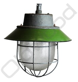 Industrial lamp - Akehorn green with cage