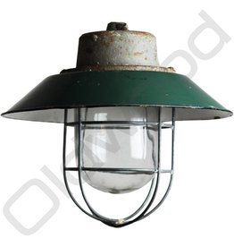Industrial lamp - Rolf dark green with cage
