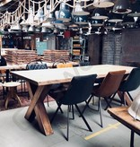 Boomstamblad tafel - Kansas met koperen poot