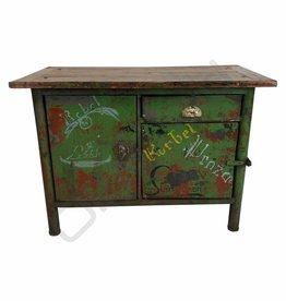 (Verkocht) Groen dressoir / werkbank