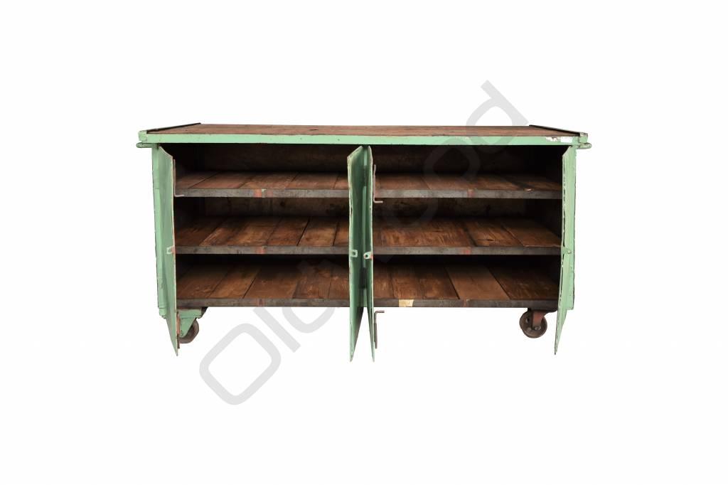 Industrieel meubel Groen dressoir met wielen