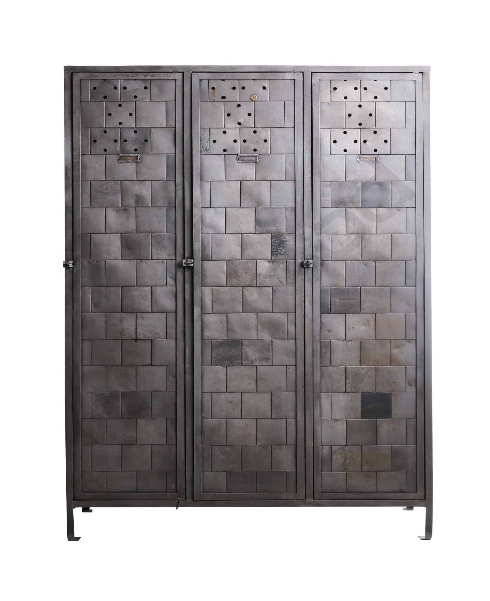 (Gereserveerd) Grote metalen locker met uniek patroon