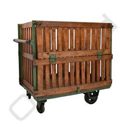 (Verkocht) Vintage houten transportkar
