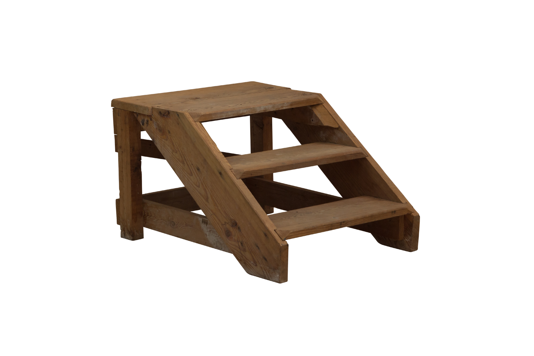 Kleine vintage houten boekenkast trap
