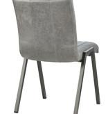 Lederen eetkamerstoel - Perez grey (zonder armleuningen)