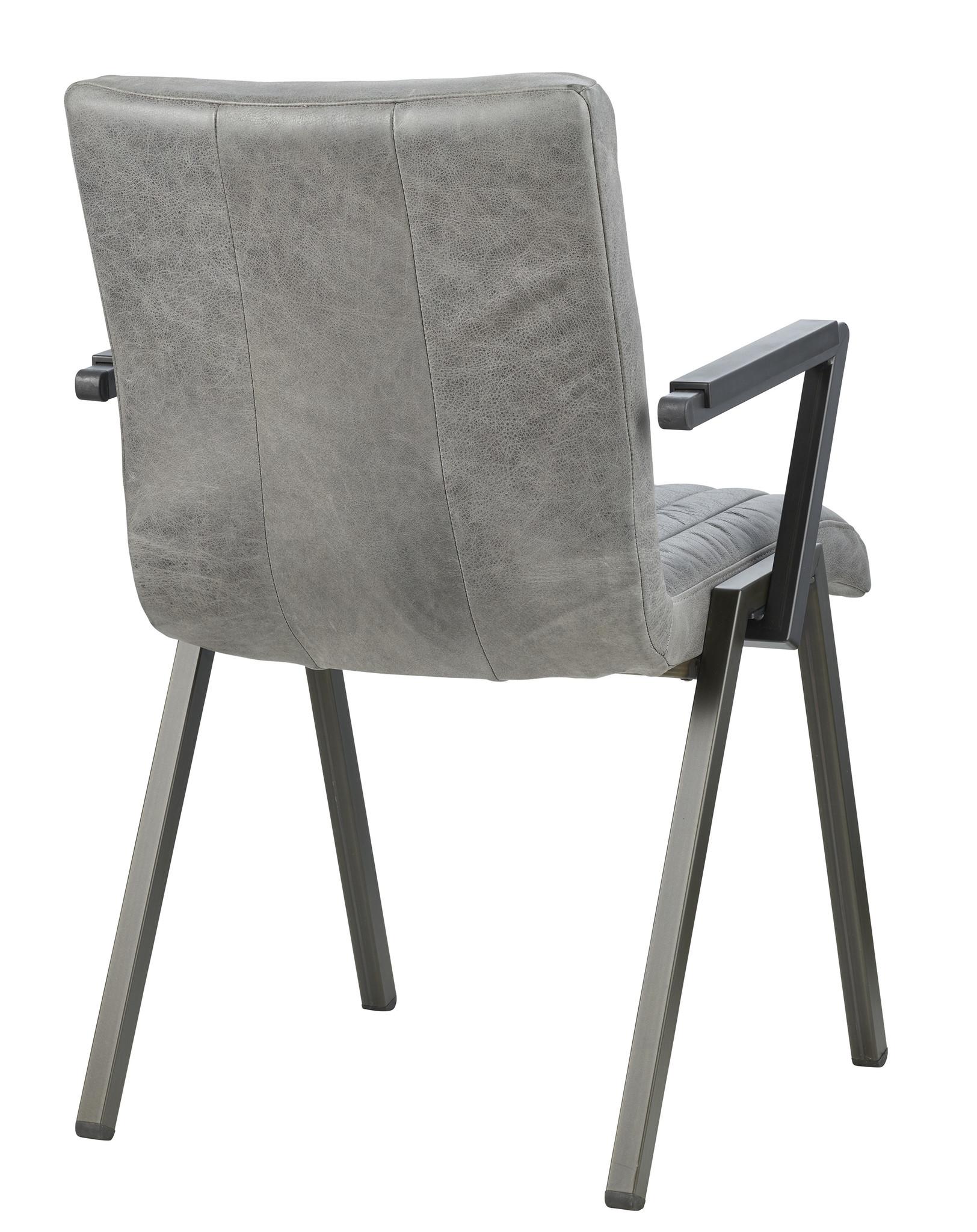 Lederen eetkamerstoel - Perez grey