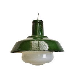 oldwood Industriële lamp met melkglas