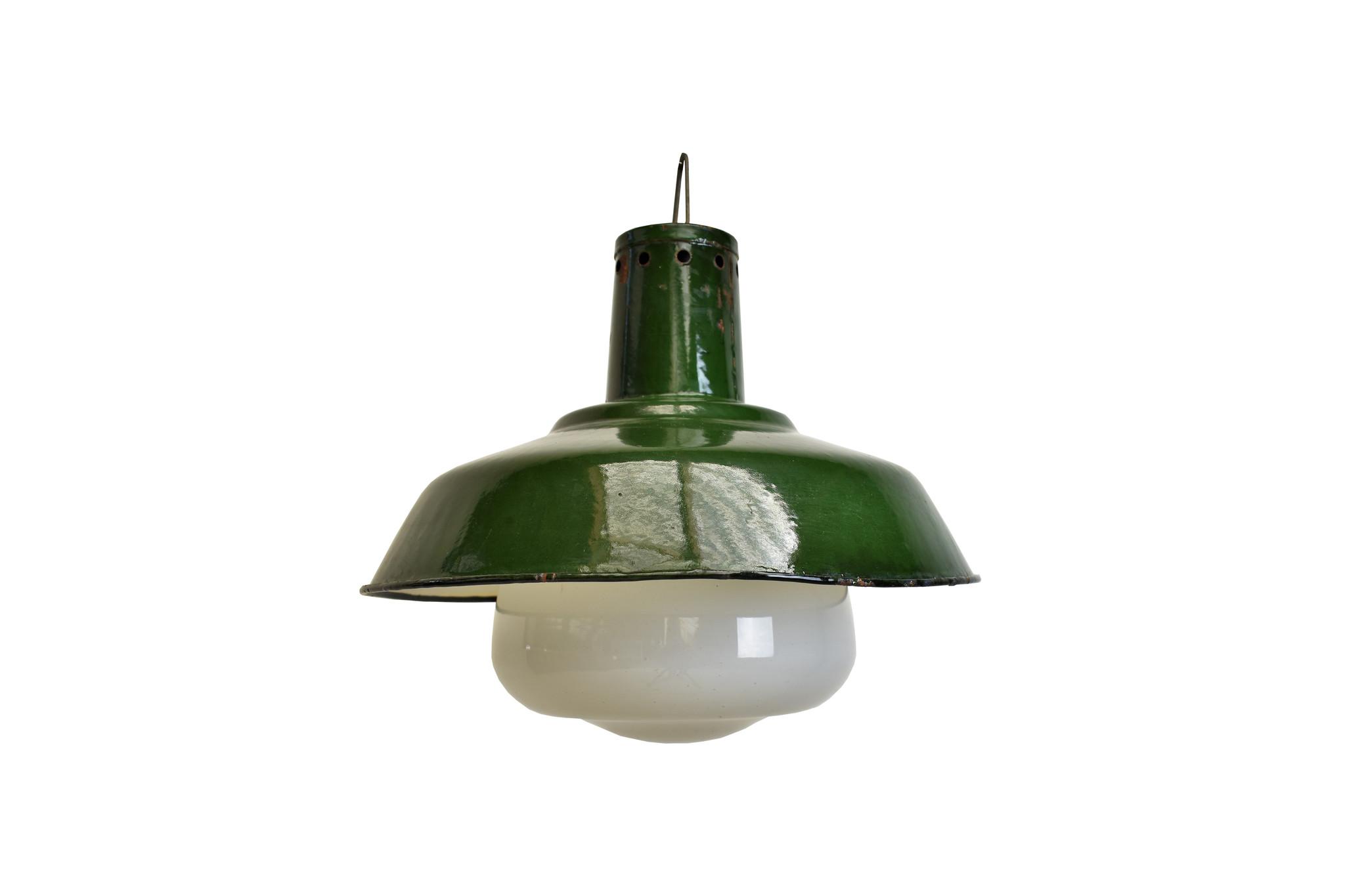 oldwood Stoere groene Lamp met glas