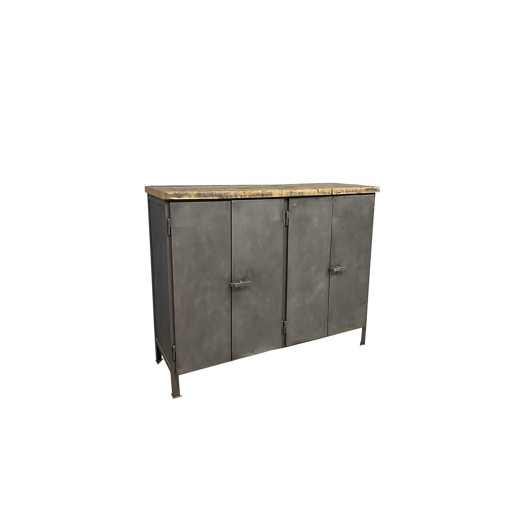 oldwood industriele kast metaal