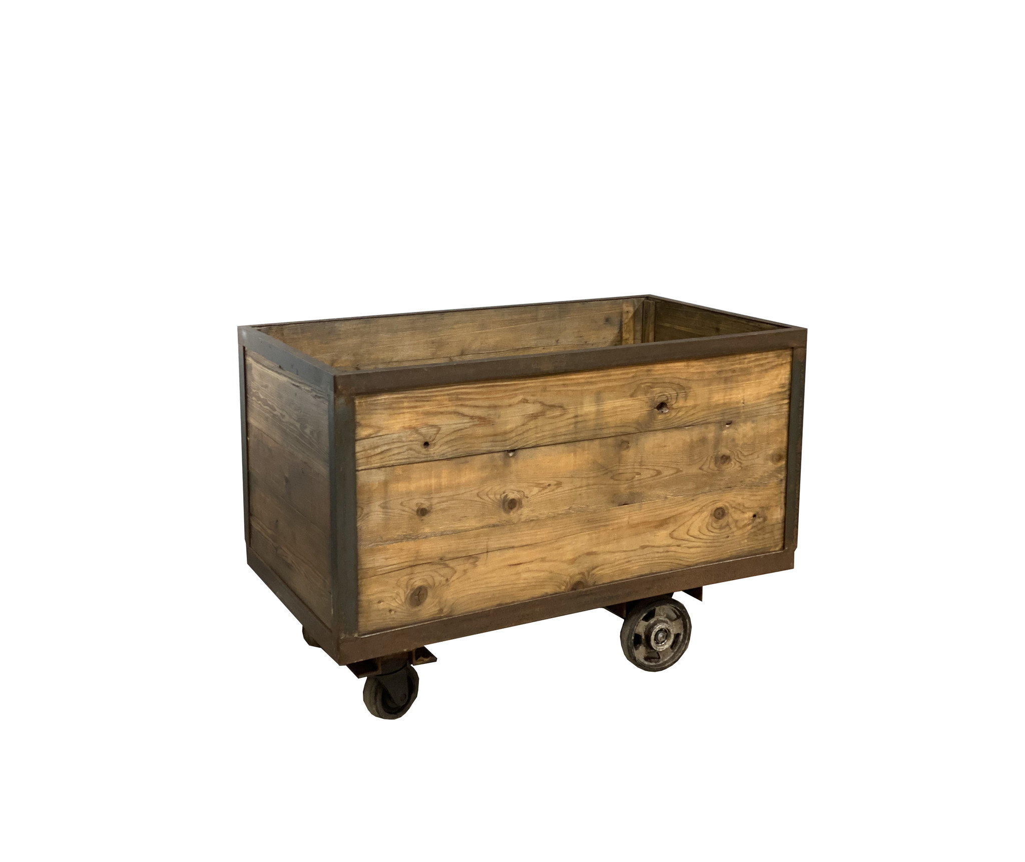 oldwood industriele trolley met houten kist