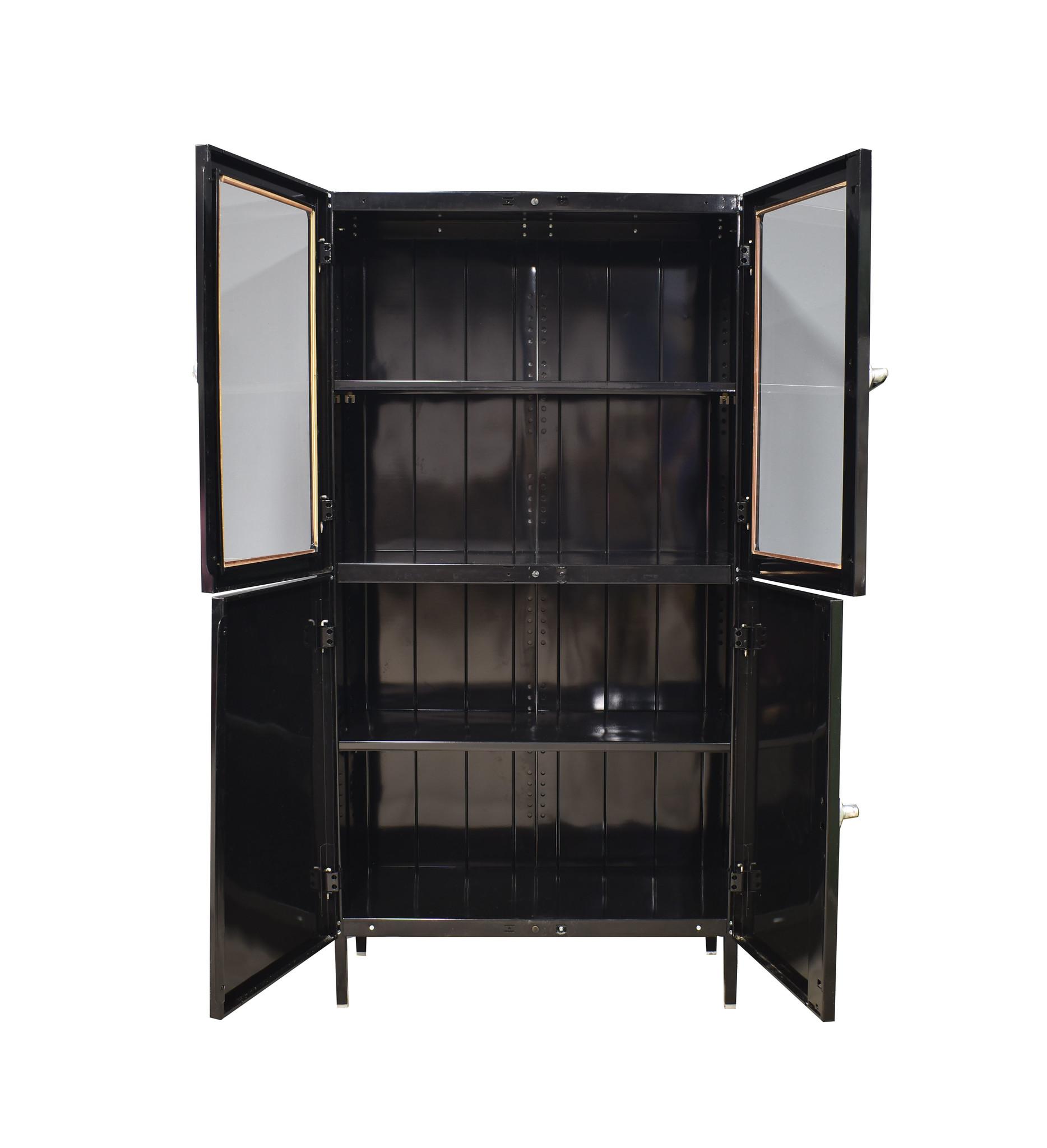 oldwood Vintage vitrinekast / Apothekerskast   zwart