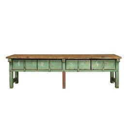Industrieel meubel grote houten werkbank  groen