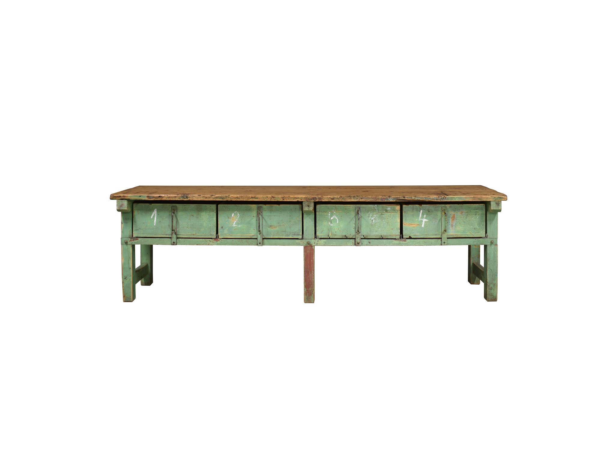Industrieel meubel Werkbank hout / dressoir  groen