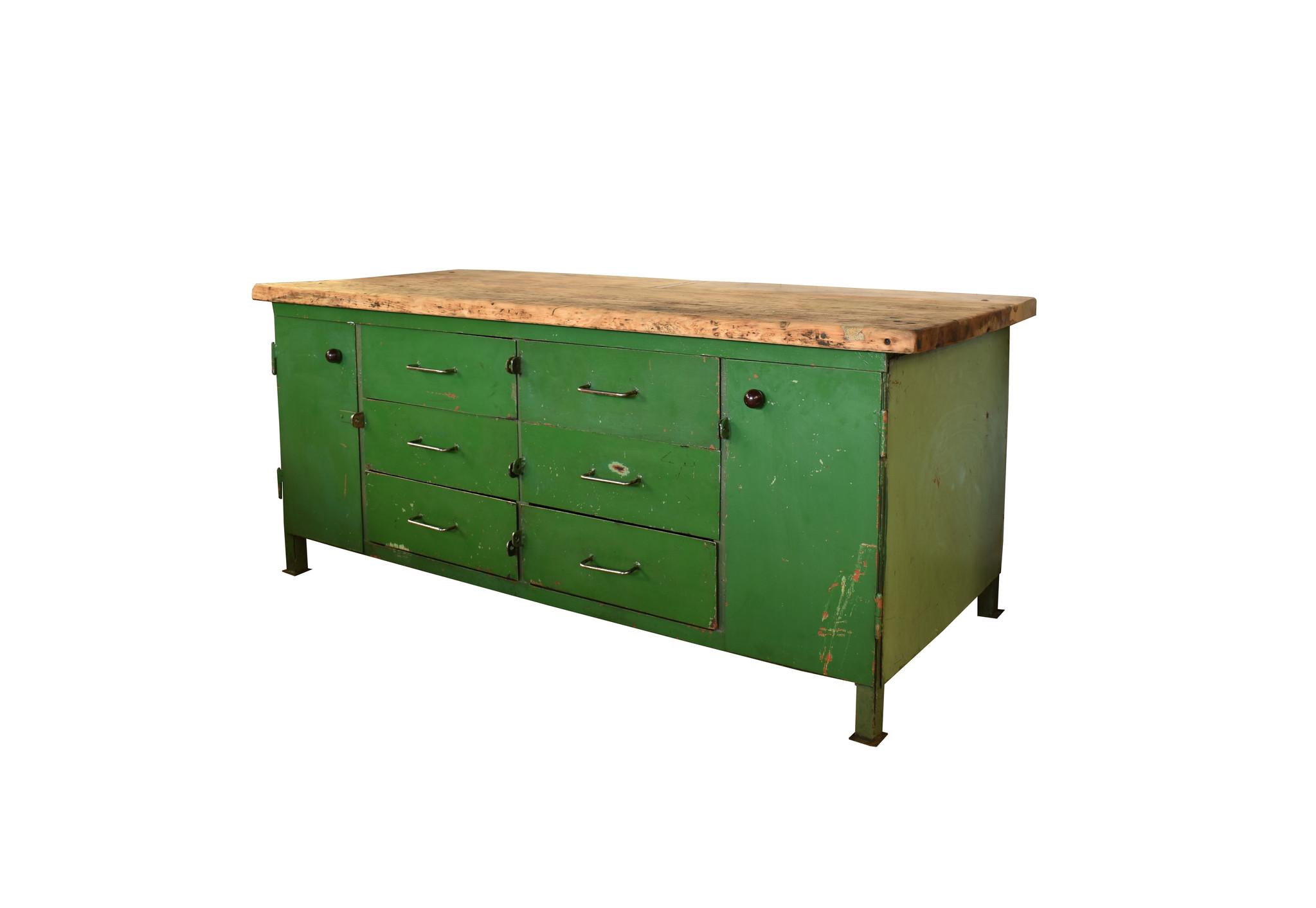 Industrieel meubel Groen dressoir/kookeiland