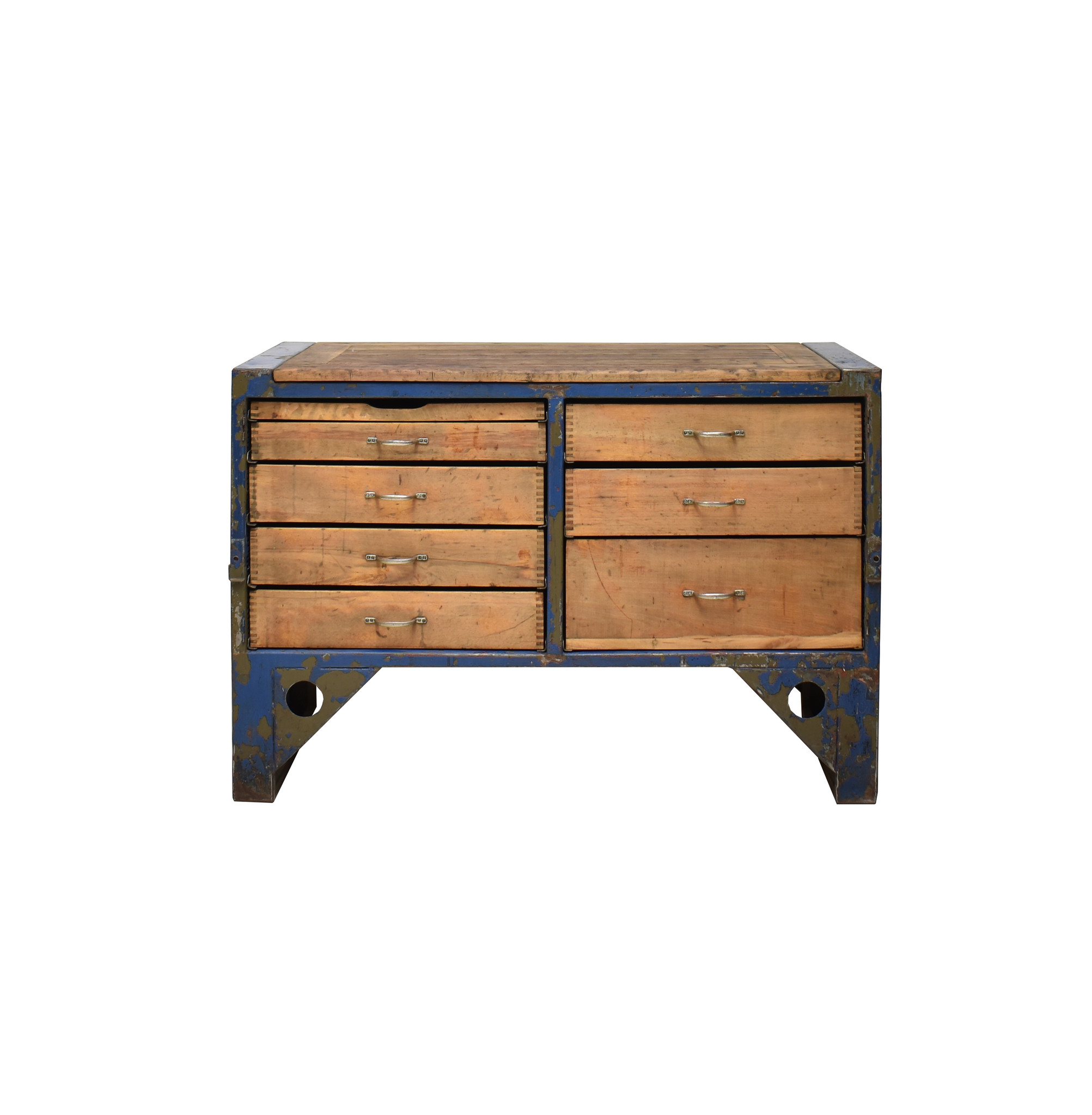 Industrieel meubel  Stoer dressoir, industriële werkbank, stoer ladeblok