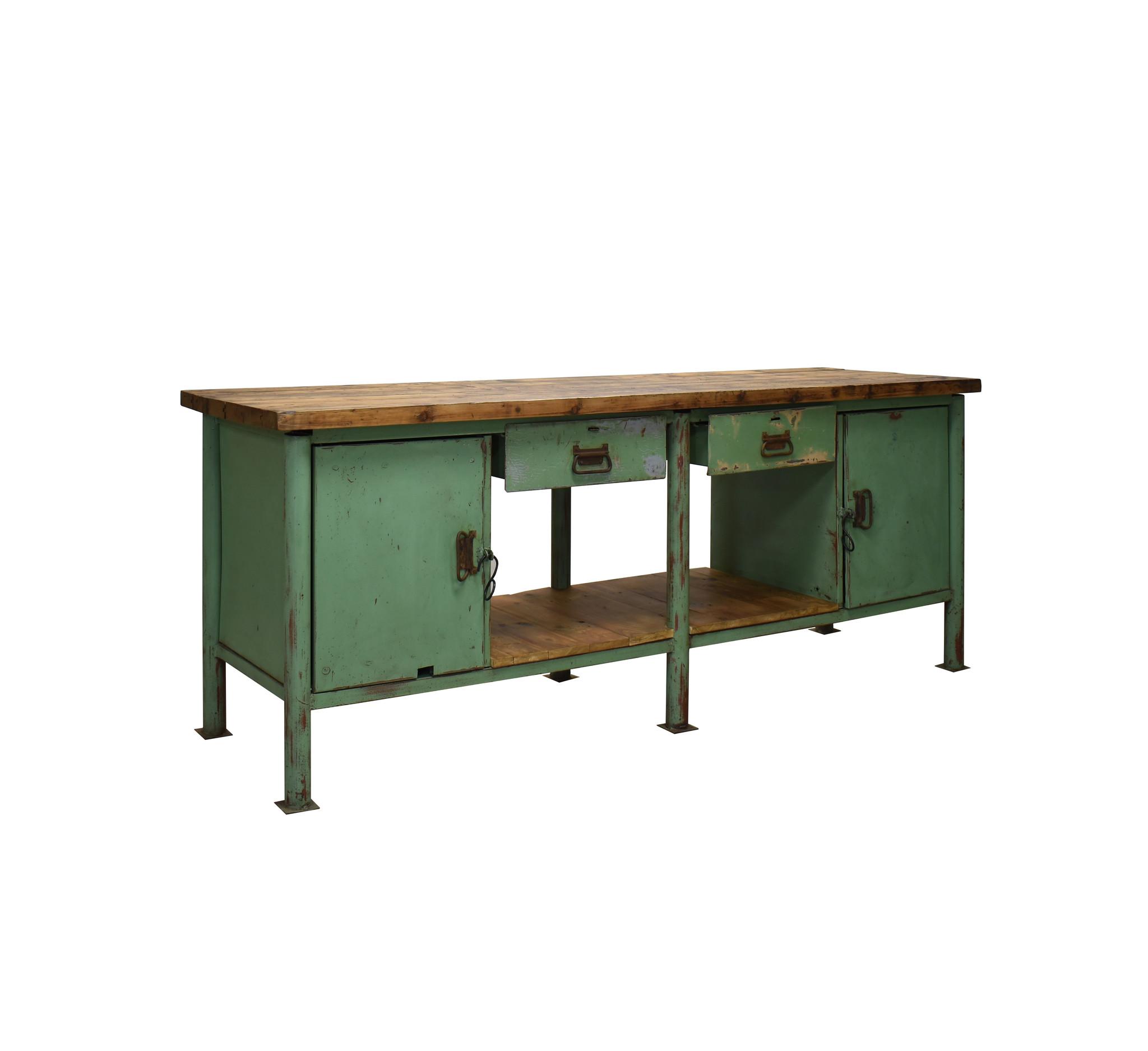 Industriële werkbank groen - Groen Dressoir