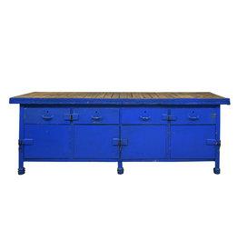 Blauw dressoir/werkbank