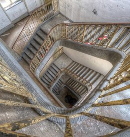 Scratch Photography - Foto's op geborsteld aluminium - diverse afmetingen Spiral stairs - photo on aluminum