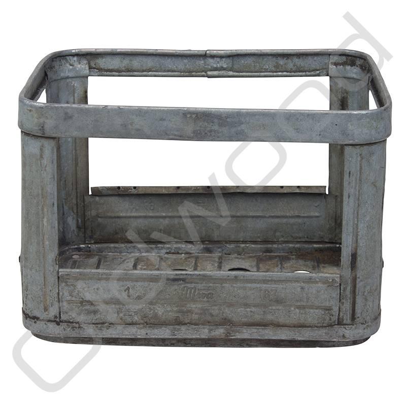 Vintage metal milk crate