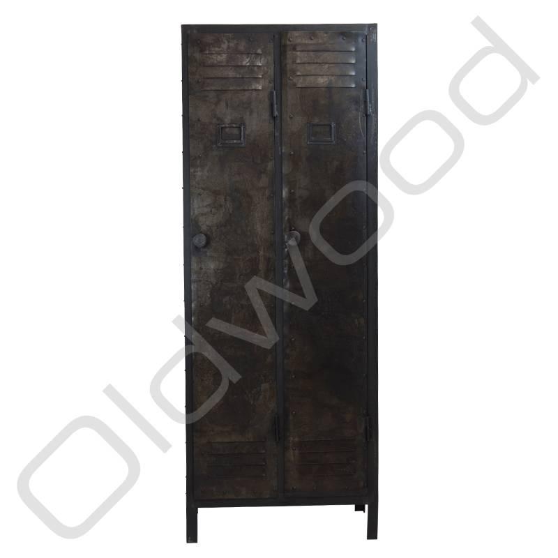 Industrial metal locker cabinet two-door