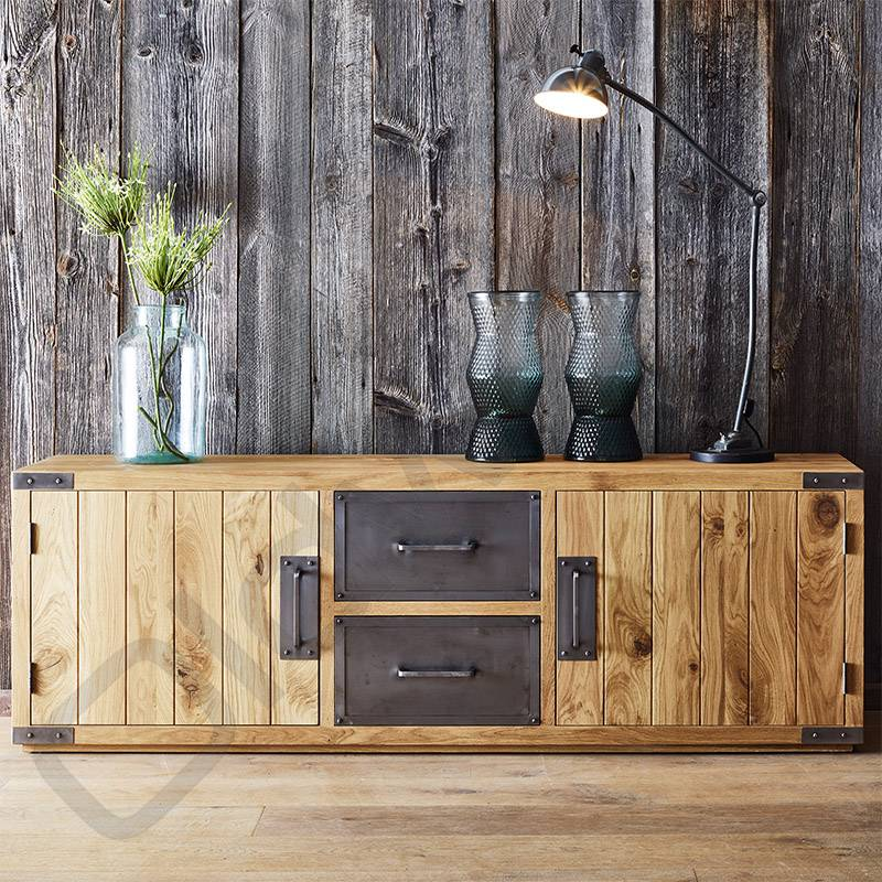 Tv Kast Dressoir.Tv Meubel Dressoir Met Metalen Lades Oldwood De Woonwinkel