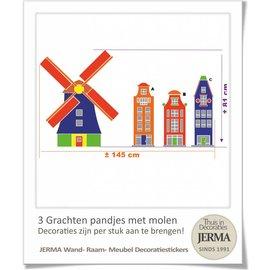 JERMA Grachtenpandjes muurstickers en Molen