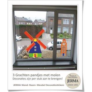 JERMA Grachtenpandjes muurstickers met Molen (set van 3 grachtenpandjes)