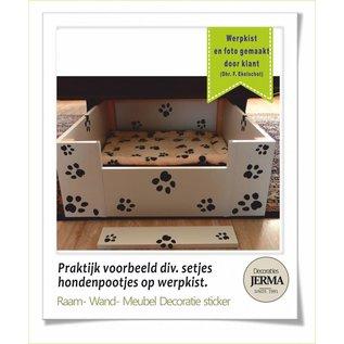 JERMA Honden Pootjes stickers voor op de auto set met plakbare pootjes in de verf hondenpootjes stickers