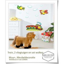 Walldecor Kinderkamer muurdecoratie Trein, Vliegtuig & wolken.