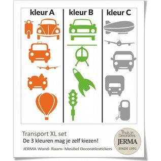 JERMA Auto muurstickers kinderkamer Transport thema decoratie stickers XL set
