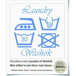 JERMA wassymbolen sticker washok Laundry washok tekst met pictogram wasgoed etiketjes
