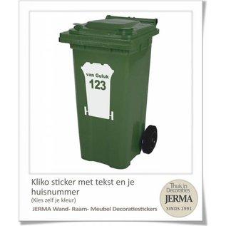 JERMA Kliko stickers met tekst en nummer in een kleur naar keuze.