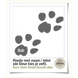 JERMA Pootje sticker set met naam