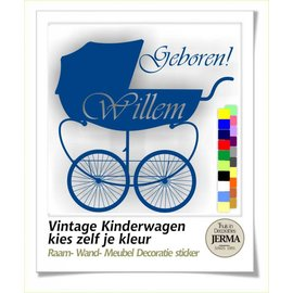 JERMA Geboortesticker Vintage Kinderwagen
