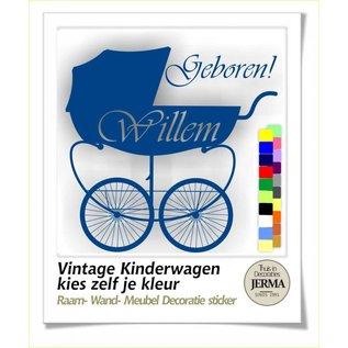 JERMA Geboortesticker babykamer meubelsticker Vintgage Kinderwagen, geboortesticker.