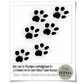 JERMA Honden Pootjes decoratie stickers (set van 6 stuks).