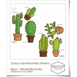 Walldecor Cactus raamdecoratie stickers