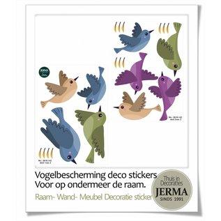 Walldecor Vogel bescherming raamsticker set van 8 gekleurde vogels