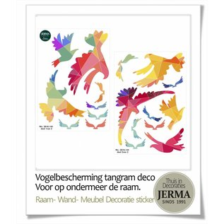 Walldecor Vogel raamsticker set kleurige Tangram vogels