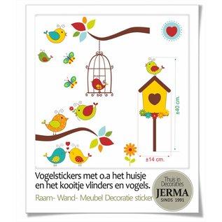 Walldecor Vogel raamstickers met o.a. vogelhuisje en vogelkooitje