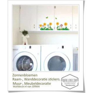 Walldecor Zonnebloemen raam-, wanddecoratie stickers.