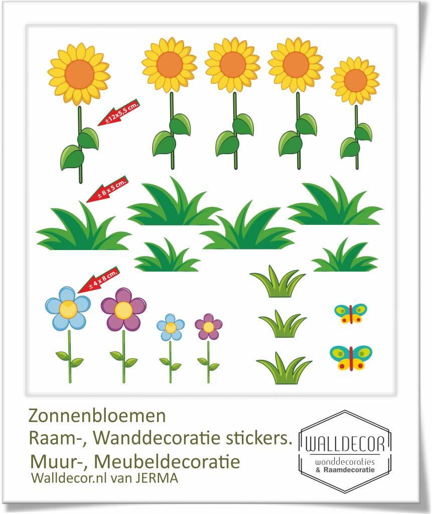 Zonnebloemen Raam Wanddecoratie Stickers Set 5 Vrolijk Geleurde Bloemen Droomdecoraties Nl Thuis In Decoraties