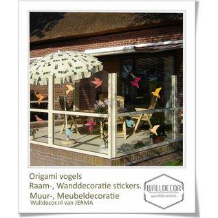 Walldecor Vogel bescherming raamsticker set van 10 gekleurde origami vogels