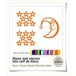 JERMA Maan met  Sterren decoratie set voor het decoreren van de ramen wanden of meubels.